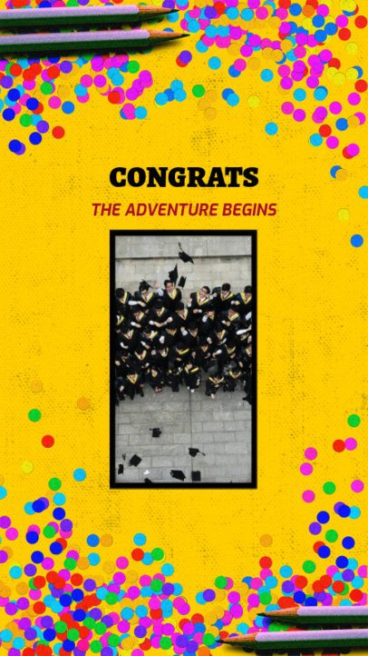 Instagram Story Maker for Graduation Day with Confetti Graphics 2430j