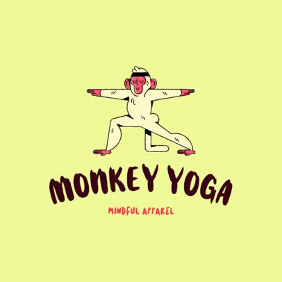 Logo Creator for a Kids Clothing Brand with a Monkey Doing Yoga 3115c