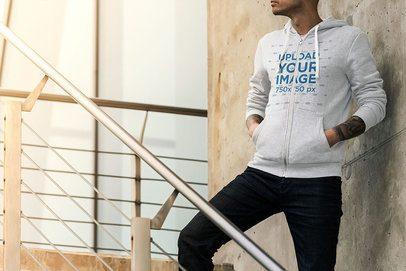 Full-Zip Hoodie Mockup of a Man Posing on Concrete Stairs 3565-el1