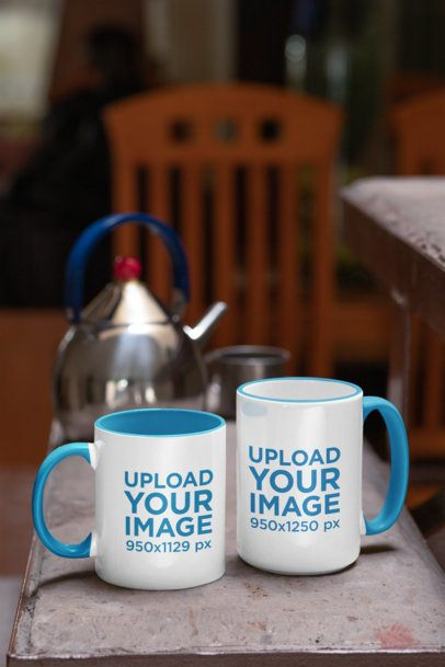 Mockup Featuring Two Colored Rim Mugs of Different Sizes 33306