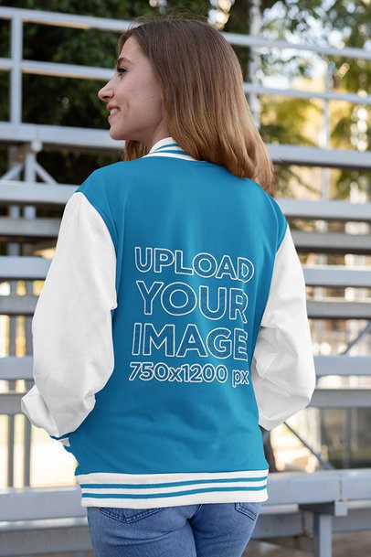 Back-View Mockup of a Woman Wearing a Varsity Jacket 33207