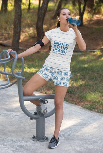T-Shirt Mockup of a Fit Woman Wearing Shorts 33077