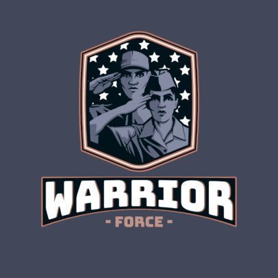 Logo Maker for a Patriotic Squad Featuring Two Soldiers Saluting 3122f