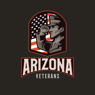 Gaming Logo Creator Featuring a Veteran Soldier Against a Flag Emblem 3122b