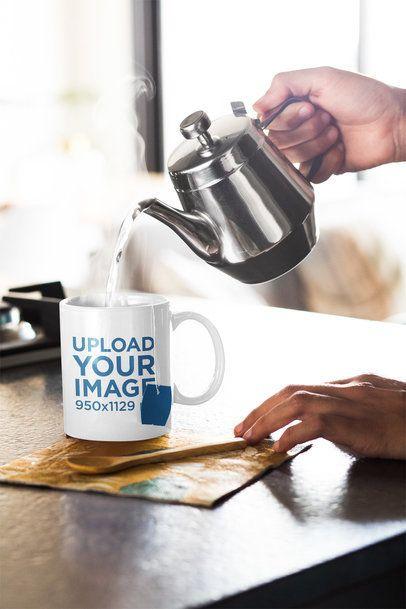 11 oz Mug Mockup of a Person Preparing Hot Tea 33181