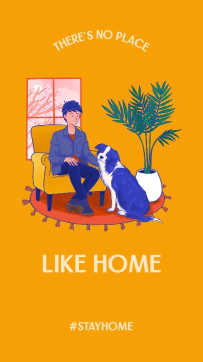 Instagram Story Creator Featuring a Man and His Pet at Home 2429g