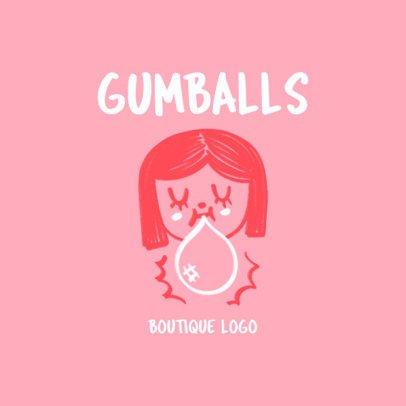 Children's Boutique Logo Maker Featuring a Girl Doodle 3116f