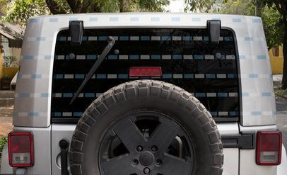 Mockup of a Decal Featuring the Backside of an Adventurous Truck 33259