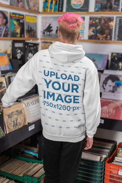 Back View Mockup of a Man with a Hoodie Looking at Some Vinyl Records 33319
