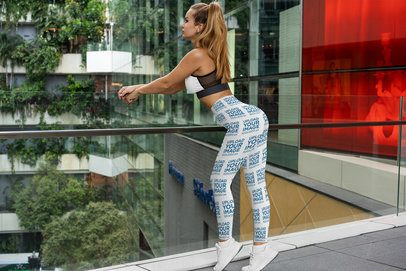 Leggings Mockup Featuring a Fit Woman Posing 3636-el1