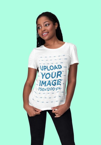 Mockup of a Young Woman Wearing a Customizable T-Shirt at a Studio 1816-el1