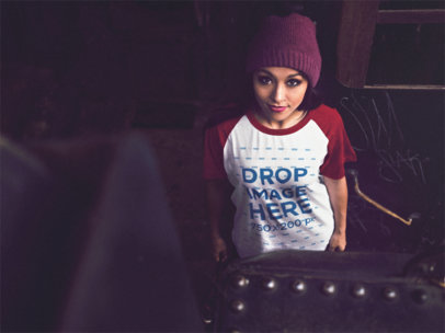 Raglan T-Shirt Mockup of a Young Woman Wearing a Beanie a12503