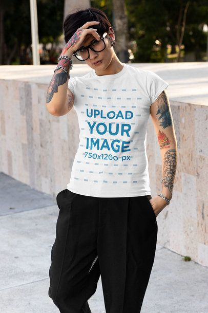 T-Shirt Mockup of a Tattooed Woman with an Androgynous Style 32932