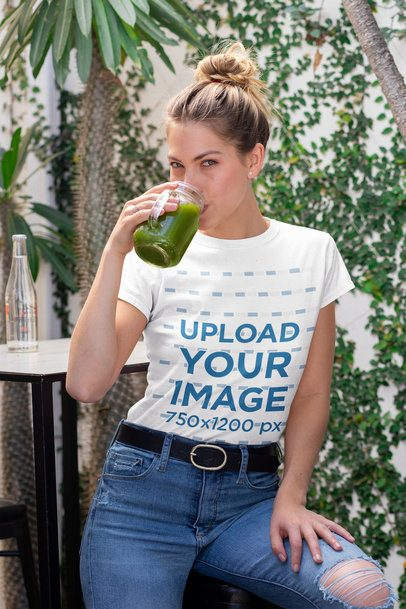T-Shirt Mockup of a Woman Drinking a Green Smoothie 32762