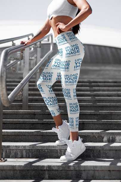 Cropped Face Mockup of a Woman with Leggings Posing by Some Stairs 3658-el1
