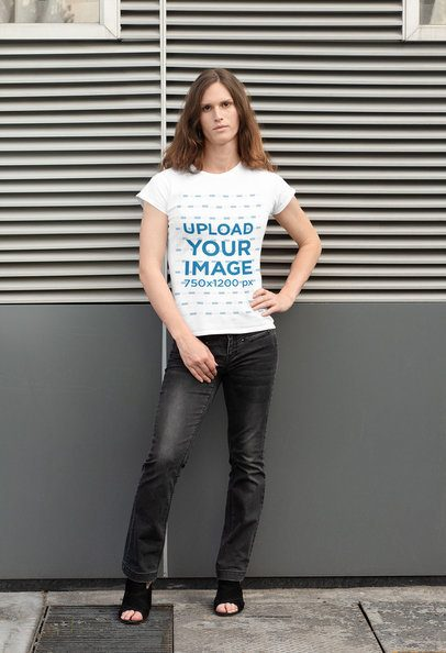 T-Shirt Mockup Featuring a Woman with a Casual Look 32950