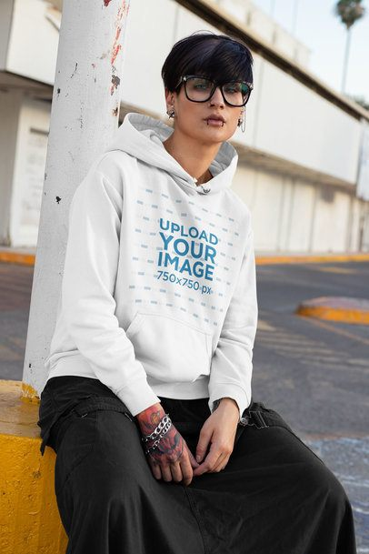 Mockup of a Woman with an Androgynous Look Wearing a Hoodie 32936