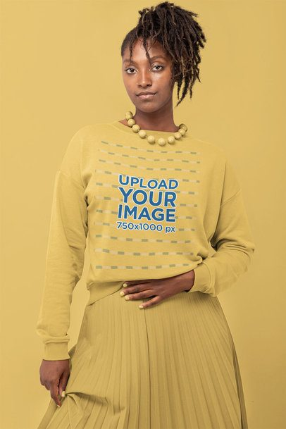 Crewneck Sweatshirt Mockup of a Woman in a Monochromatic Outfit 32800