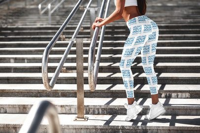 Sublimated Leggings Mockup of a Woman Leaning on a Metal Handrail 3653-el1