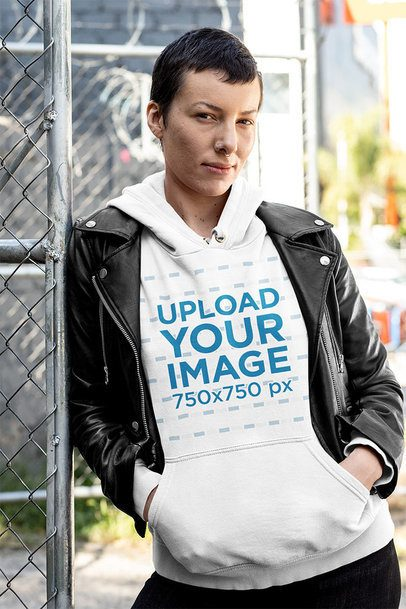 Pullover Hoodie Mockup of a Cool Woman with an Androgynous Look 32911