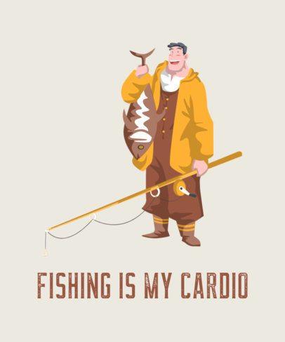 T-Shirt Design Maker with a Smiling Fisherman Illustration 753a-el1