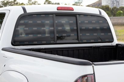 Mockup of a Rear Window Decal Placed on a Pickup Truck 33239