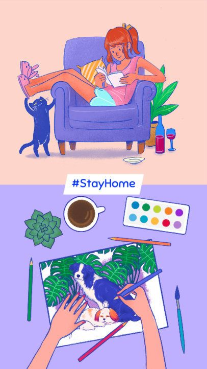 Instagram Story Template with Two Options of Things to Do Staying at Home 587h-2461