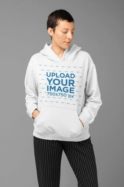 Hoodie Mockup of a Woman with Androgynous Look at a Studio 32917