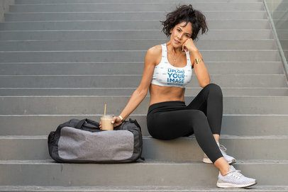 Sports Bra Mockup Featuring a Fit Woman by a Stairway 32781