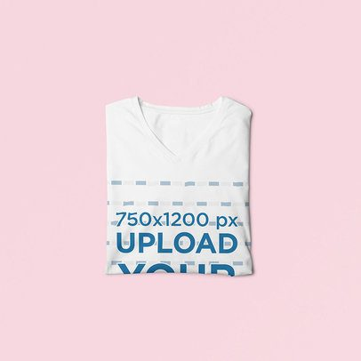 Mockup Featuring a Folded V-Neck T-Shirt Against a Colored Backdrop 3694-el1