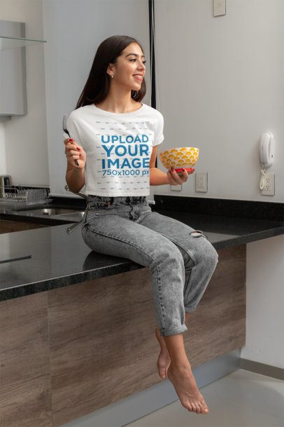 Crop Top Mockup of a Young Woman Eating a Healthy Breakfast 32754