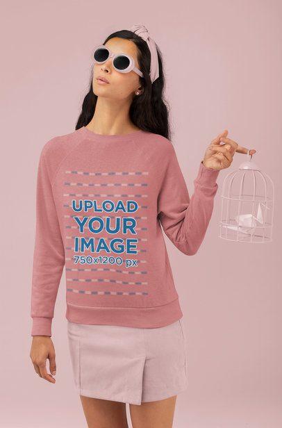 Sweatshirt Mockup Featuring a Stylish Woman at a Studio 32788