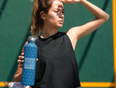 Aluminum Bottle Mockup Featuring a Young Woman 33495