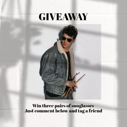 Simple Instagram Post Design Generator for a Sunglasses Giveaway 2456s