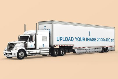 Vehicle Decal Mockup Featuring a Long Trailer Truck 3607-el1