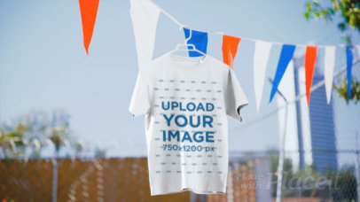 Video of a T-Shirt Hanging By Some 4th of July Decorations 33781
