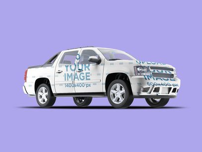 Full Vehicle Wrap Mockup Featuring a Pickup Truck 3597-el1
