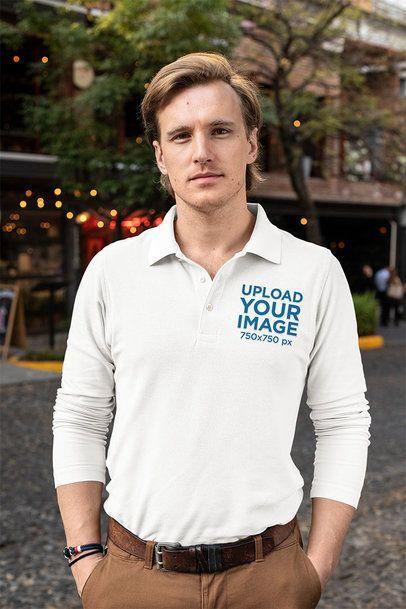 Mockup of a Blonde Man Wearing a Long Sleeve Polo Shirt 33479