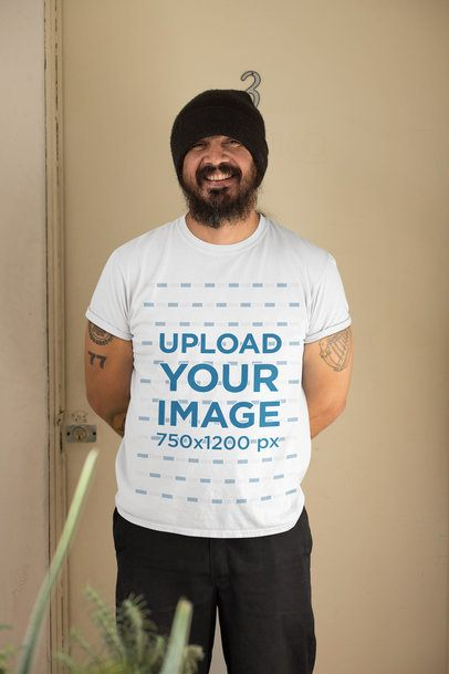 T-Shirt Mockup of a Bearded Man at Home 32831