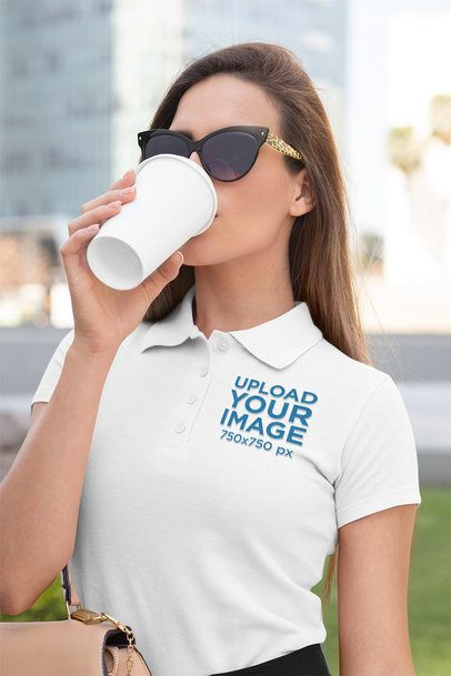 Polo Shirt Mockup Featuring a Woman with a Beverage 33537