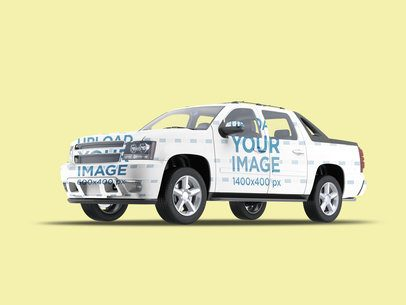 Vehicle Wrap Mockup Featuring a Pickup Truck Against a Plain Background 3600-el1