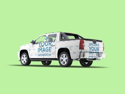 Full Vehicle Wrap Mockup Featuring a Pickup Truck and a Colored Background 3601-el1
