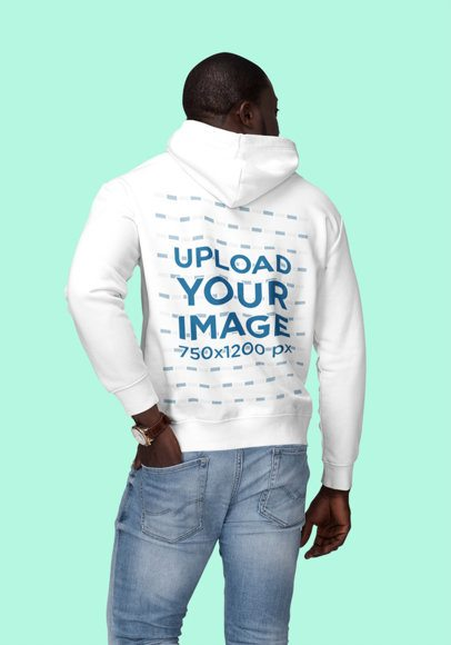 Back View Mockup of a Man Wearing a Customizable Hoodie at a Studio 1805-el1
