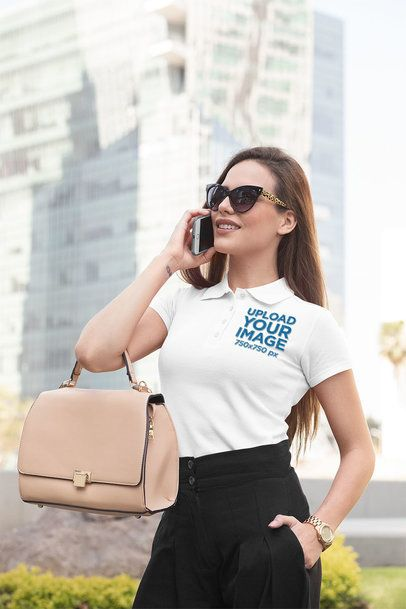 Polo Shirt Mockup Featuring a Woman Talking on Her Mobile Phone 33535