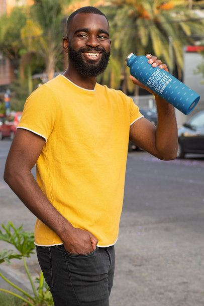 Mockup Featuring a Bearded Man Drinking From an Aluminum Bottle 33521