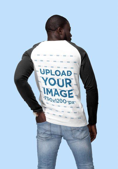 Back-View Mockup of a Man Wearing a Long-Sleeve Raglan Shirt 1807-el1