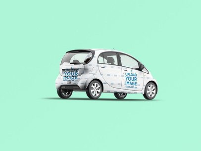 Vehicle Wrap Mockup Featuring a Hatchback Car 3624-el1