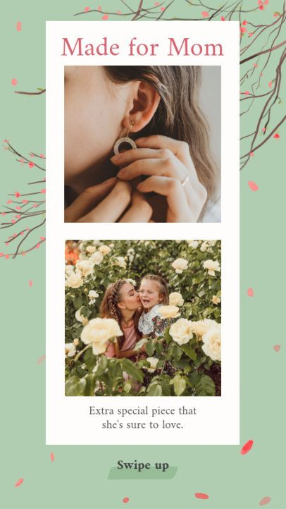 Mother's Day Instagram Story Template with Flower Pictures and Drawings 2451d