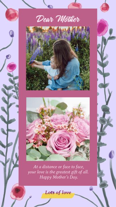 Instagram Story Maker for a Mother's Day Post with a Flowery Background  2451b