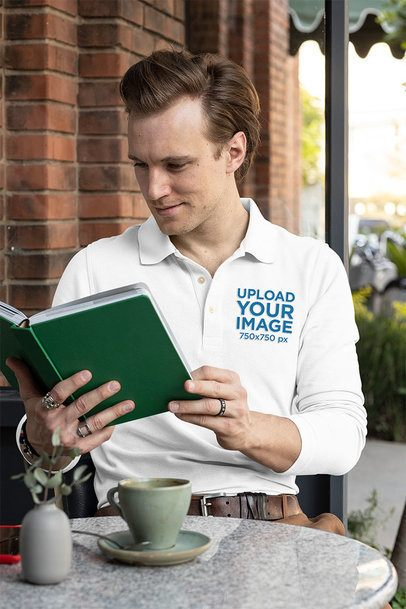 Long Sleeve Polo Shirt Mockup Featuring a Man Reading a Book 33473